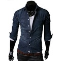 Free Shipping 2013 Men StylishVintage Slim Fit Denim Jean Casual Long Sleeve Shirt Top S266
