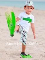 Free shipping baby boy summer clothes suits children cotton clothing set t-shirt + shorts + cap 5set/lot  BS-448