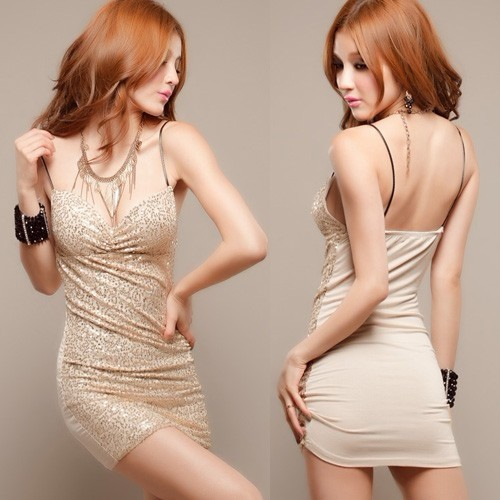 2013 New Arrival Women's Fashion sexy tight paillette Gallus Night Club Dress,Lady's Slim Cocktail Party Dress,Free Shipping(China (Mainland))