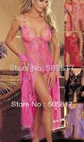 M~ XXL Bigger size Plus size 3 color New ladies long dress Sexy lace dress lingerie Free Drop ship Purple Pink Black YH9020