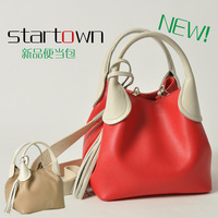 2012 bags cowhide red boxes package one shoulder mmobile women's handbag women's backpack