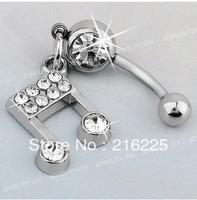 316L Steel Ball Crystal Music Note rhinestone bling Navel Belly Bar Ring HOT