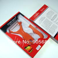 High Quality 2PCS/Sets 3 inch White Ceramic + Peeler Kitchen Ceramic Knives Orange ABS Handle Free Shipping
