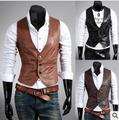 2013 Fashion Men's vest /Stylish Casual Slim Fit Leather vests/Men's fashion vest M-XL light brown,dark brown,black