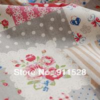Free Shipping! Shabby Chic Roses & Keys Linen Fabric Printed Patchwork Fabric - 145cm x 100cm N1195