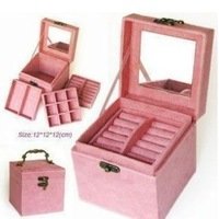 Free shipping hot-selling fashion princess dressing vintage jewelry box suede fabric marry girls birthday gift