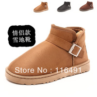 new couple in winter thickened Plush Mens Flat snow Boots warm boots 3 colors black and khaki brown