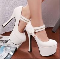 Womens Shoes Black/White High Heel Platform Round Toe Pump Stiletto Ladies Shoes size 35-39 free shipping