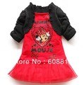 free shipping 2013 fashion kids girl cartoon Minnie print lace dress/black cape,chiffon lace,pink and red cute dress red