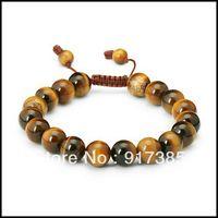 1X SHB1319 Gift Box+10mm Mens Adjustable Tiger's Eye Mala Power Bead Bracelet Fashion Shamballa Jewelry Mini Order $15
