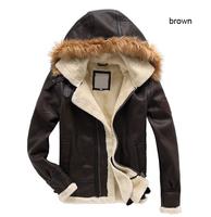 Free shipping men high quality sheeplamb jacket winter designer fashion leather coat hoody nice outerwear hot sale MC2243