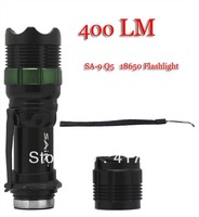 New 400 Lumen Zoomable CREE LED SA-9 Q5 18650 Flashlight Torch Stretch Zoom Lamp Light+Free Shipping