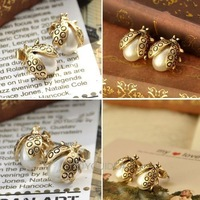 new style 28Pairs Alloy Bronze Faux Pearl Ladybird Beetle Bead Stud Earring Fashion 60087