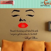 Marilyn Monroe Wall Decal Beneath the Makeup and Behind The Smile... Quote ZY8002