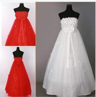 34 vestido de noiva 2014    fashionable sexy handcraft  flower  wedding dress for pregnant  bride bridal gown dresses