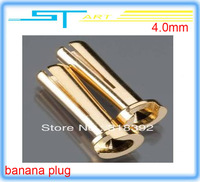 100 pair  4.0mm gold plated banana plug plug for helicopter,airplane rc car parts free shipping drop shipping wholesale