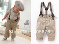 2013Free Shipping Baby Set 5sets/lot 2013 NEW STYLE Boy&#39;s Summer Suit T shirt + Jeans + Straps Baby Suit for kids 80-120cm