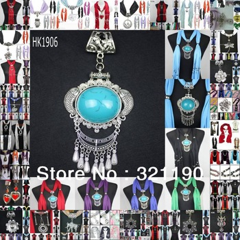 Mixed 25 design & colors 50pcs  DHL Free wholesale scarf jewelry with beads cotton scarves heart charms pendants necklace