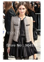 2013 NWE Cotton Padded Jacket for Women Patchwork Spot Zipper Warm Padded Slim Women's Coat Overcoat