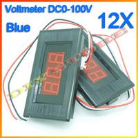 """Wholesale 12pcs/lot 0.56"""" Digital Voltmeter 0-99.9V Blue LED Digital Panel Meter Voltage 0V to 99V +Free shipping-10000332"""
