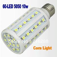E27 10W 1080LM 220V-240V 60 LED 5050 SMD Energy-saving Corn Bulb Spot Lamp warm/ cool white Light , free shipping 10pcs/lot