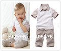 Free Shipping Baby set 5sets /lot boy suit 2pcs (Short T Shirt + Pants) Kids Clothes Set Children Suit 2013 Baby Wear
