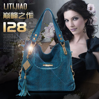 2012 winter serpentine pattern cowhide genuine leather tassel women's handbag one shoulder cross-body 09