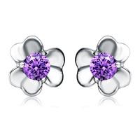 Wholesale 100% Pure 925 Sterling Silver purple crystal flower stud earrings fashion women jewelry YA394