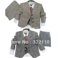 Boy suit Plaid wear 3 piece suit Jacket+Pants+Coat Kids suits Casual clothes Blazers Baby cloth Party dress