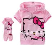 children's/kids  summer clothing cotton t shirt shirts t-shirt t-shirts +pants  girls cartoon hello kitty 2 pces set  GGX
