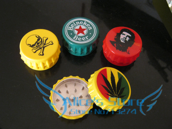 Free shipping 6pcs/lot (dia 4.8cm) Bottle Cap Shape 2-layer Metal herb grinder Tobacco Grinder Machine Gift Promotion GR016(China (Mainland))