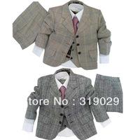 Kids suits Blazers 3 piece suit Jacket+Coat+Pants Plaid Casual clothes Baby cloth Children suit High quality