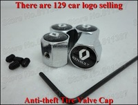 2sets/lot RENAUT Car Logo Free Shipping Anti-theft Locking Tire Valve Cap With 129 Car Logo Selling