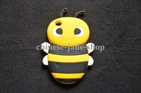 3D Yellow Bumble Bee Cartoon Silicone Cover Case For Apple iPod Touch 4 iTouch 4  10pcs /LOT