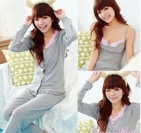 Free Shipping Autumn and winter women's sleepwear long-sleeve cotton thick three pieces set lounge
