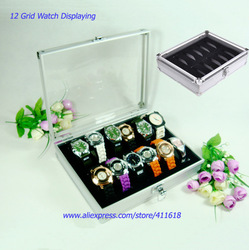 Free Shipping 12 Grid Watch Display Jewelry Storage Box Case Aluminium Square Organizer holder Slots(China (Mainland))