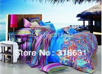 New Listing Pure Cotton Duvet Cover Set Paisley Pattern & Color Fashion 4pc King Size Bedding Set , Blue, Round Corner Sheet