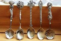 5pcs/lot Retro Bronze Spoon sets of 5 degigns  Coffee spoon MIxing spoon free shipping