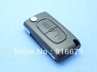 High quality Citroen C4/407 fold key shell 2 button remote controller to replace shell key blank no tank with battery clip