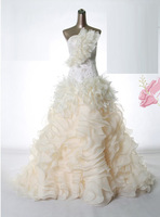 2013 Multi-Layer Big Flower Tent Wedding Dress Customize Short Trailing Carol Bridal Dress Size & Color Can Be Customize