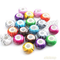 Hot Sale 150pcs/lot New Mixed Color Round Black Stripes Charms Acrylic Big Hole Beads Fit Jewelry DIY 14x14x8mm 152209