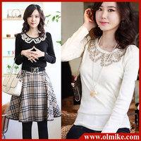 free shipping SALE Women's fashion long sleeve cotton + Embroidery +  beads T - shirt ladies tops t shirts S M L XL XXL WA008