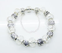 HOT SALE 925 sterling silver fashion Mysterious character Noble white bead charming bracelet/chain free shipping