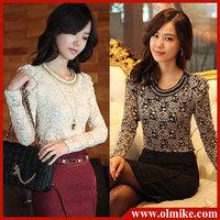 free shipping 10% OFF SALE  ldaies' FASHION bottoming shirts long-sleeved T-shirt low collar shirt lace thickened Women WA010
