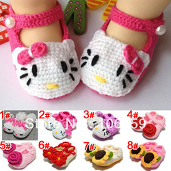 Crochet Baby Toddler Shoes Baby Girl Crochet Knit Flower Sandals Infant Hello Kitty Shoe 5pairs/lot Free Shipping(China (Mainland))