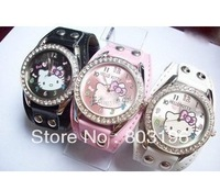 50PCS/Lot DHL Free Shipping Fashion Children's Gift Hello Kitty Rivet Watch Kid's Wristwatches Girl's Watches Black/White/Pink