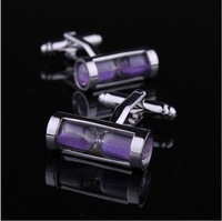 Purple   Time hourglass crystal cufflinks for men cufflinks free shipping