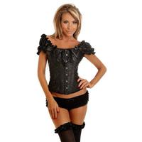 2015 Hot Sale New waist trainer Women shapercorset black  sexy lingerie satin  corset 2013 size S-2XL5810  Dropshipping