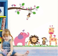 Jungle Animals Giraffe Lion Monkey Elephant Wall Stickers Nursery Kid Room Decor