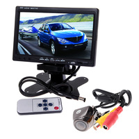 "Waterproof Car Rear View Camera+7"" TFT Color LCD 2 Video Input DVD VCR Monitor"